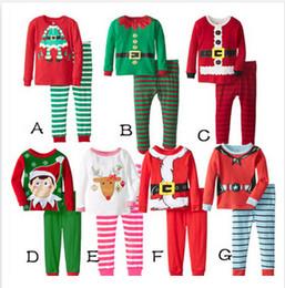 Wholesale Christmas Pajamas Long Sleeve Pyjamas Boy Girl Autumn Winter Pajamas Kids Pajama Sets Xmas Pajamas Baby Sleepwear Kids Cothes Set m00689