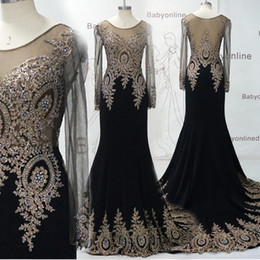 Wholesale Long Sleeves Lace Celebrite Dresses High Quality Real Image Black Sheer Crystal Applique Mermaid Party Evening Prom Gowns BO6958
