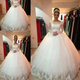 Wholesale Vestido De Noiva New Design Custom made Lace Long Sleeve Puffy Wedding Gown Brides Wedding Dress