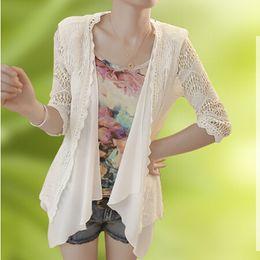 Wholesale 2015 summer new long section of the sleeve irregular chiffon cardigan sun protection clothing thin coat female shawl