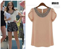 UE Nova moda mulheres Loose tamanho grande chiffon casuais vintage Blusas / Beading O-pescoço, verão Pullover
