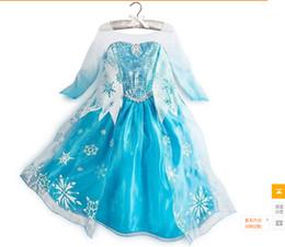 Wholesale Frozen dress Girls Dresses Frozen long sleeves Fall dress girl party dress anna princess costume baby girls elsa dress HOT