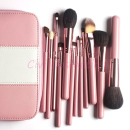 Wholesale Professional Makeup Brushes Kit Pieces Goat Hair Make up Brushes in Pink Leather bag