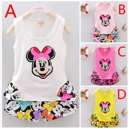 Wholesale Retail summer styles baby girl clothing set Minnie Mouse kids vest shorts Little Girls suit cartoon children clothes sets HX