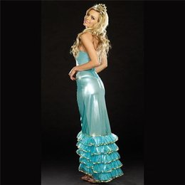 Wholesale 2015 hot style Halloween Party Cosplay Anime Costume Role Playing Blue Mermaid Costume Sexy Clothing FZ909