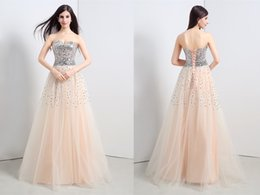 Wholesale Stock champagne sequins Lace Beading A Line Long Prom Dress Sweetheart Neck Sleeveless formal Length Formal Evening Dress Size