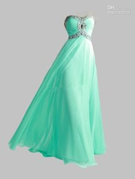 Wholesale 2015 Sexy Sweetheart Chiffon Empire Long Cheap Stock Crystal Lime Green Aqua Evening Dresses Evening Prom Dresses Bridesmaid Gowns Dress
