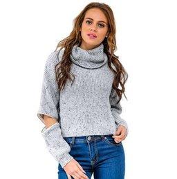 Wholesale 2016 Apparel turtleneck open zipper sleeve knitted warm sweater women autumn winter Fashion tricot short pullover jumper plus