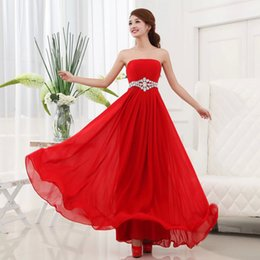 Wholesale 2015 new bridesmaid evening party formal chiffon women strapless plus size red under dresses prom maxi gown long dresses