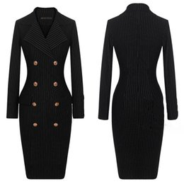 Wholesale 2014 Fall New Arrival Womens Sexy Slim Fit Stripe Pencil Dress Double Breasted Tailored Collar Long Sleeve Ladies OL DRESS