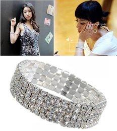 Wholesale 4 Rows Clear Sparkle Rhinestone Elastic Bracelet Cuff for wedding Bridal Accessories