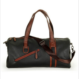Large Capacity Outdoor Men's Sports Bag PU Leather Tote Duffel Bag Vintage Style Zipper Crossbody bags