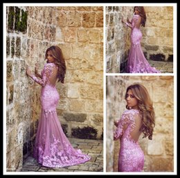 Wholesale 2015 Said Mhamad Mermaid Tulle Applique Lace Plum Prom Dresses Long Sleeve Sweep Train Party Evening Gowns Backless Lady Formal Party Dress