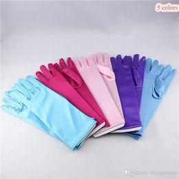 Wholesale costume princess kids gloves for girls frozen elsa gloves long Blue Satin Gloves frozen cosplay children long blue gloves