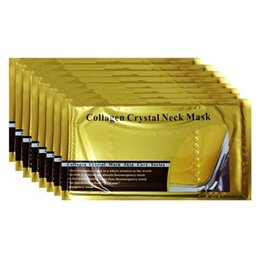Wholesale Hot sales Collage gold Gel Neck Mask Puffiness Gold Crystal Collagen Neck Mask Anti Aging anti wrinkle whitening hydrating gift DHL Free shi