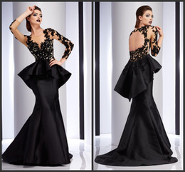 Wholesale Evening Prom Dresses Wear Black Satin Formal Celebrity Dress Appliques Lace Long Sleeves Peplum Party Gowns KR