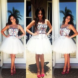Wholesale Cheap White Short Prom Dresses Sexy Spaghetti Beads Sequins Mini Teens Homecoming Graduation Cocktail Party Dress Custom Size