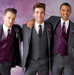 Wholesale 2016 Grey Slim Fit Ceremony groom Suit Wedding suit for men Groom Tuxedos groomsman Bridegroom Suit