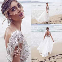 Wholesale Arabic New Arrival Cheap Anna Campbell A Line Wedding Dresses V Neck Beaded Lace Sheer Beach Chiffon Boho Long Backless Bridal Gowns