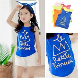 Wholesale New Summer Candy Color Baby Girls Clothes Kids Casual Sports Clothing Tank Top T shirts Pure Cotton AF268