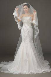 Wholesale White Ivory Yard Bridal Veil Tulle With Crystal Lace Long Wedding Veil Custom Made
