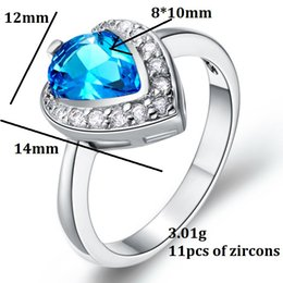 wedding rings for women jewelry heart love 925 silver red blue purple crystal simulated diamond ring jewellery j350 - Cheap Real Diamond Wedding Rings