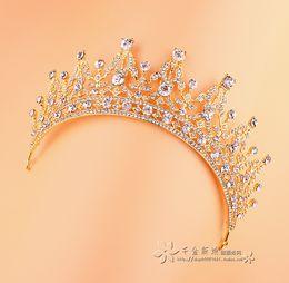 Wholesale Vintage Baroque Gold Rhinestone Crystal Wedding Crowns Bridal Tiaras Hair Accessories Headband Luxury Bridal Crowns Party Wedding Tiaras