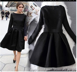 Wholesale Fashion Elegant Black Dresses Jacquard Long Sleeve Vintage Hoppen Style A line Ball Gowns Slim Midi Casual Dresses for Work