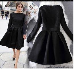 Wholesale Olivia Palermo Elegant Black Dresses Jacquard Long Sleeve Vintage Hoppen Style A line Ball Gowns Lady Slim Midi Casual Dresses for Work