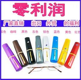 Wholesale Hot sale Tube reading glasses metal reading with pen clic reading glasses free shipment