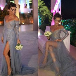 Wholesale 2016 Long Sleeves Off the Shoulder Prom Dresses Strapless Lace Tulle High Split Gray Vintage Teen Party Evening Gowns Cheap Custom Made