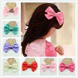 Wholesale Baby girl Hair Clips Satin grosgrain ribbon Big bow flower with clips colors kids Duckbill clip hairpin Children s hair accessories