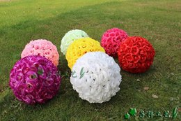 Wholesale 30 CM quot New Artificial Encryption Rose Silk Flower Kissing Balls Hanging Ball Christmas Ornaments Wedding Party Decorations H0193b