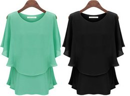 Wholesale 2015 Fashion Ladies Blouses Summer Women s Chiffon Shirts Tops Plus Size Clothing XL XXL XXXL women False two sets chiffon