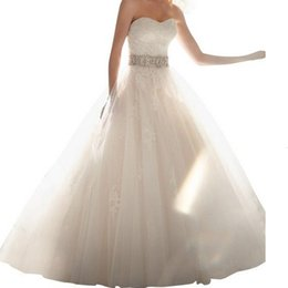 Wholesale 2015 Lace Tulle Wedding Dresses Ball Gown Sweetheart Appliques Sash Beads Glitter Removable Straps Bridal Gowns CPS102