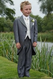Wholesale High Quality One Button Gray Tailcoat Peak Lapel Boy s Formal Wear Occasion Kids Tuxedos Wedding Party Suits Jacket Pants Vest Tie K54