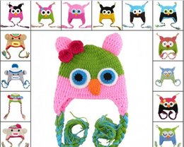 Wholesale 25 Styles Colors Choice oddler Owl Crochet Knit Woolly EarFlap Hat Baby Handmade crochet Hat owl Knitted hat