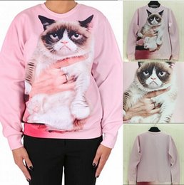Wholesale 2015 Harajuku style Fashion Women Men Punk Clothes Grumpy Pink Angry Cat Show D Effects Hoodies Sweatshirts Sweat Coat Tops
