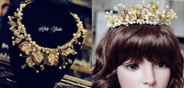 Wholesale 2015 Bridal Hair Accessories Crystals Bridal Crown Baroque Golden Leaves Grand European And American Brides Vintage Luxury Bridal Jewelry