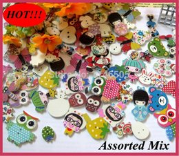 Wholesale 200pcs Random Mixed Pattern Holes Wooden Buttons Painting Sewing Buttons mm Flatback Scrapbooking botoes
