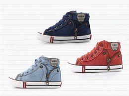Wholesale Hot new Arrival Kids Shoes Denim Jeans Zipper Sneakers Boys Girls Casual children sport Shoes color
