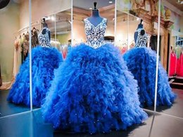 Wholesale Real Photo Royal Blue Crystal Beading Quinceanera Dresses New Sweet Dress Ruffled Princess Backless Prom Dresses debutante dresses