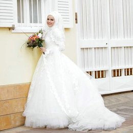 Wholesale 2016 Full Lace Wedding Dresses Long Sleeve Tiered Skirt Jewel Muslim Vestido De Noiva Dress Court Train Applique Pastels Zipper Bridal Gowns