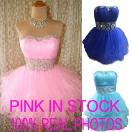 Wholesale In Stock Pink Tulle Mini Crystal Short Prom Dresses Beads Sky Royal Blue Cocktail Party Homecoming Graduation Gowns Cheap Real Image