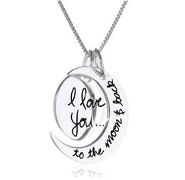 Wholesale 2014 Fashion Two Piece I Love You To The Moon and Back Silver Gold Pendant Necklace Valentine s Day Gift Chain MM inch
