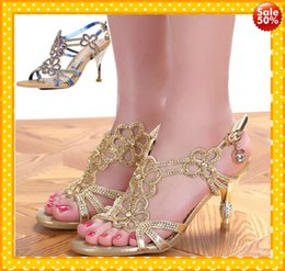 Wholesale 2016 New High Quality Gold Blue Sandal Floral Crystal Rhinestones cm High Heels Prom Evening Party Dress Women Lady Bridal Wedding Shoes