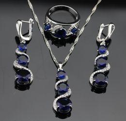 Atacado-Trendy Azul Tanzanite Sapphire Jóias Conjuntos Para Mulheres Engajamento Sterling Silver Colar Pingente Brincos Anéis Tamanho 7 8 9