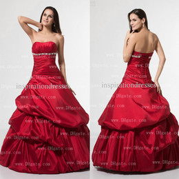 Wholesale 2014 Quinceanera Dresses Real Image Strapless Sweetheart Silver Crystal and Beaded Ball Gown Taffeta Floor length Red Prom Dresses Dhyz