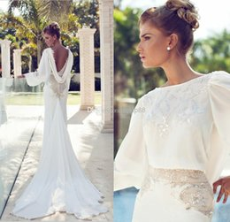 Wholesale Nurit Hen Wedding Dresses New Arrival Long Sleeves Embroidery Beaded Bridal Dress Open Back Backless Sheath W