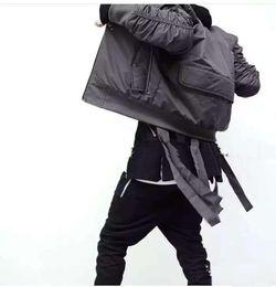Wholesale Mens Military Style MA1 Bomber hip hop Jacket With Ribbon Belt Black Mens Slim Fit Hip Hop Varsity Baseball Jacket